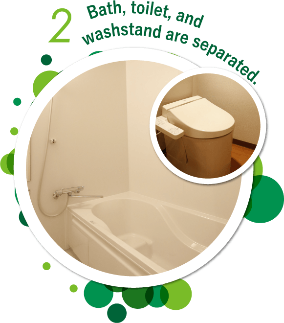 Bath, toilet, and washstand are separated.