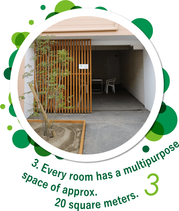 Every room has a multipurpose space of approx. 20 square meters.